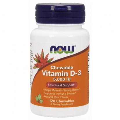 NOW Witamina D-3 5000iu 120 tabletek do żucia